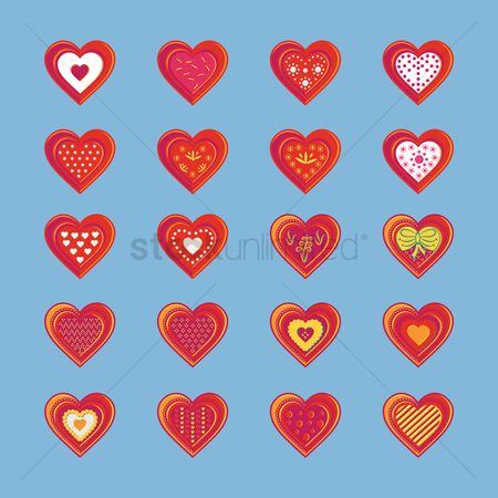 Biscuit : Set of heart icons