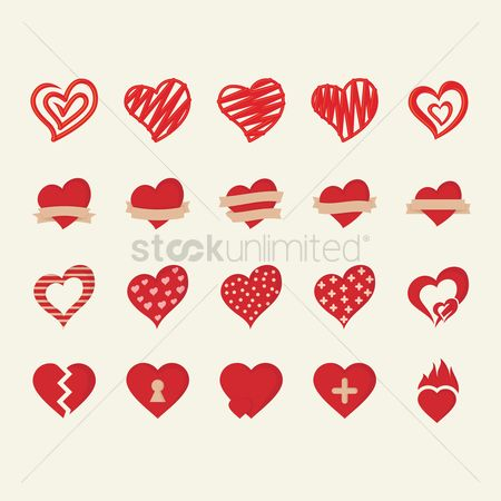 Romance : Set of heart icons