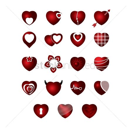 Cardiogram : Set of heart icons