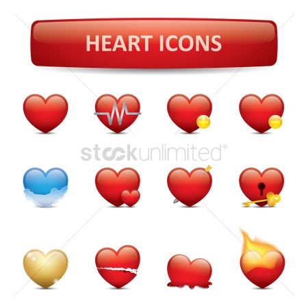 Minus : Set of heart icons