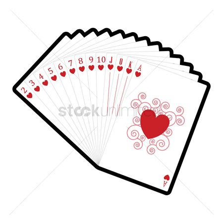 Casinos : Set of hearts cards