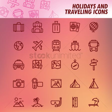 Recreation : Set of holidays and traveling icons