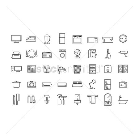 Plates : Set of home appliance icons