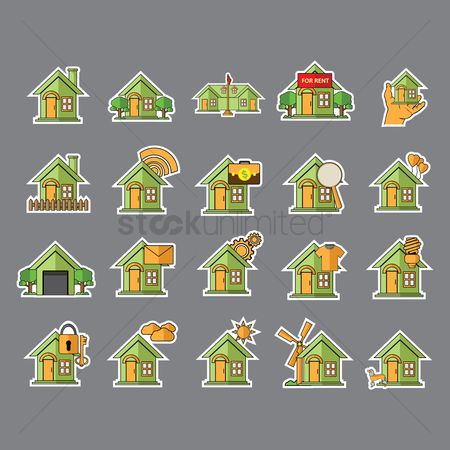 Wooden sign : Set of home icons