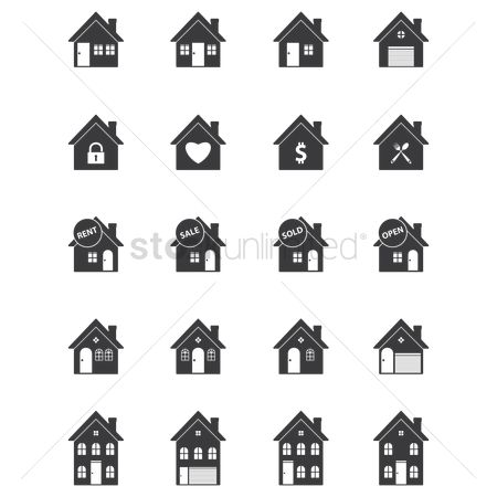 Brick : Set of house icons