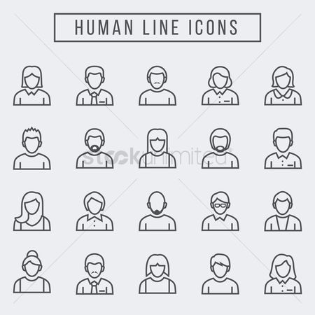 Moustache : Set of human icons