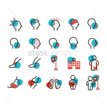 Hospital : Set of illness icons