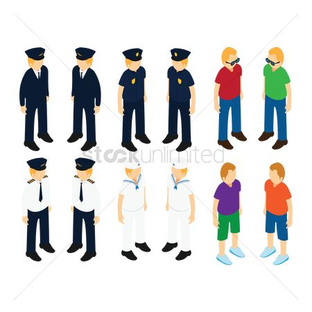 Sailors : Set of isometric people