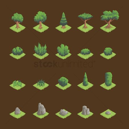 Object : Set of isometric trees and granite stone
