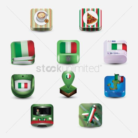 Toppings : Set of italian icons