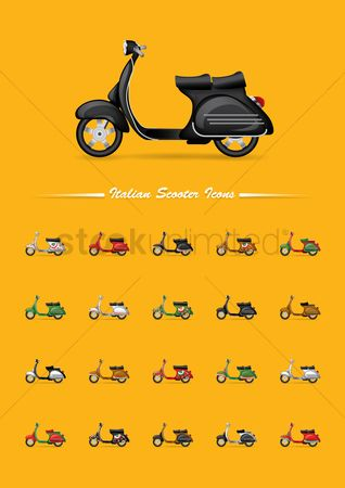 Wheel : Set of italian scooter icons
