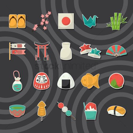Traditions : Set of japan icons