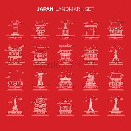Tv : Set of japan landmarks