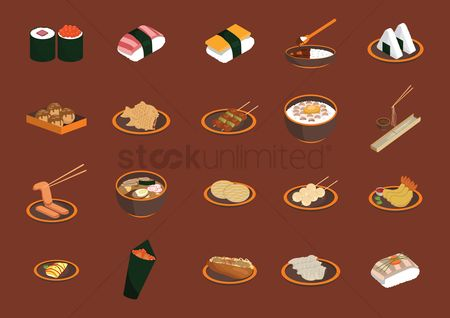 Plates : Set of japanese food items