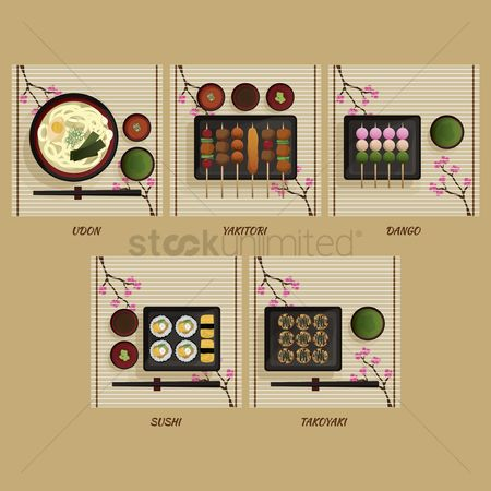 Japanese cuisines : Set of japanese food
