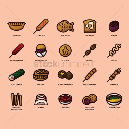 Flavors : Set of korean food icons