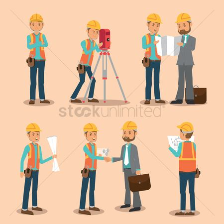 Work : Set of land surveyor icons
