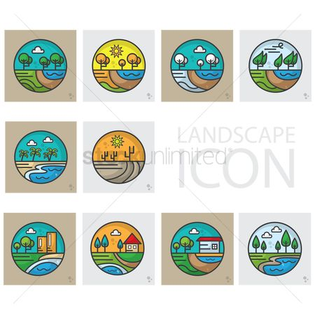 Summer : Set of landscape icons