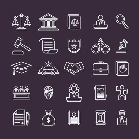 Briefcase : Set of law icons