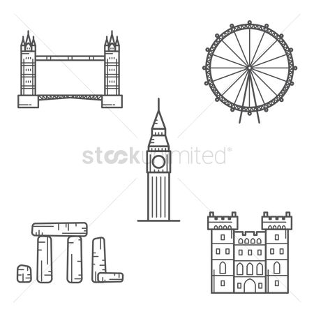 England : Set of london monuments