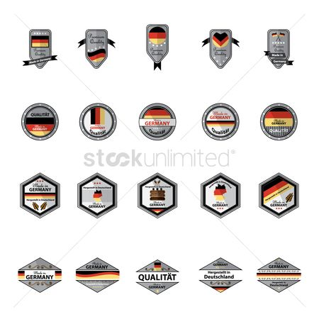 Wheats : Set of made in germany label icons