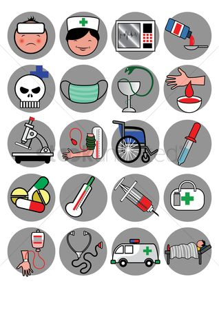 Wheelchair : Set of medical icons
