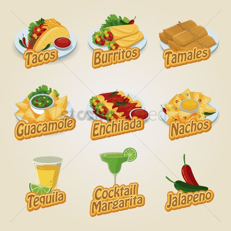 Flavor : Set of mexican food and beverage icons