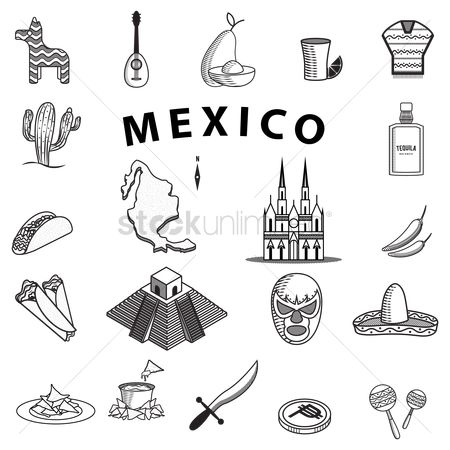 Cactuses : Set of mexico icons