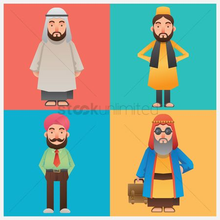 East : Set of middle eastern man icons