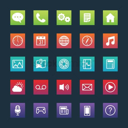 Icons news : Set of mobile application icons