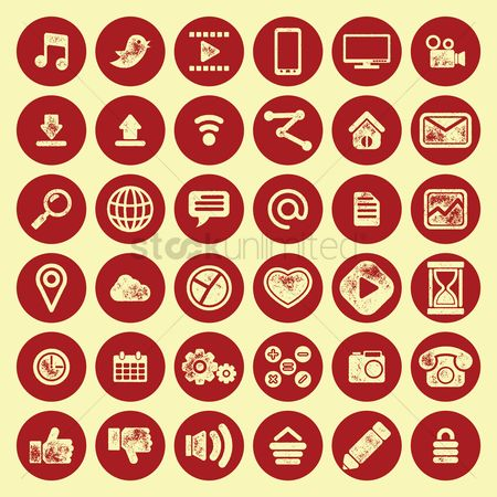 Sand clock : Set of mobile application icons