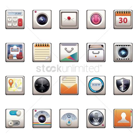 Power button : Set of mobile icons