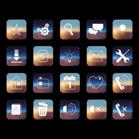 Audio book : Set of mobile icons