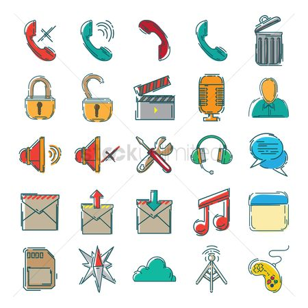 Open : Set of mobile icons