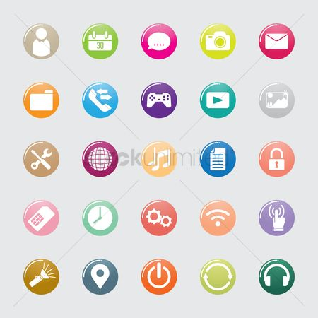 Head : Set of mobile icons