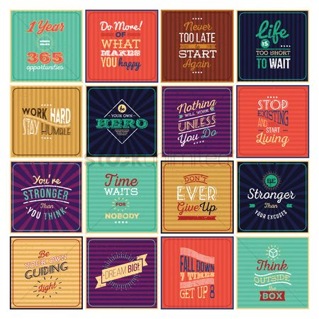 Work : Set of motivational quotes