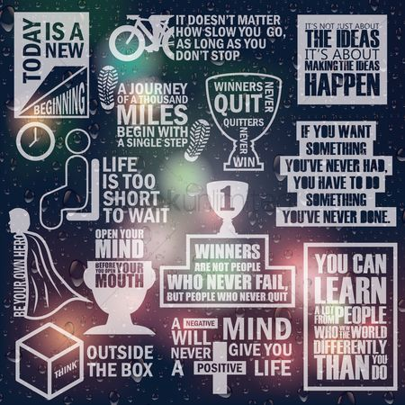 Cup : Set of motivational quotes