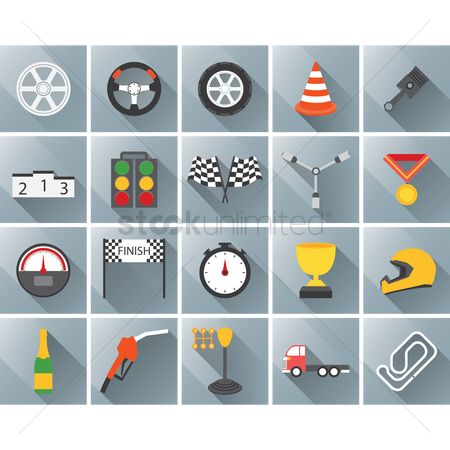 Flag : Set of motor racing icons