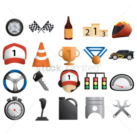Spanner : Set of motor racing icons
