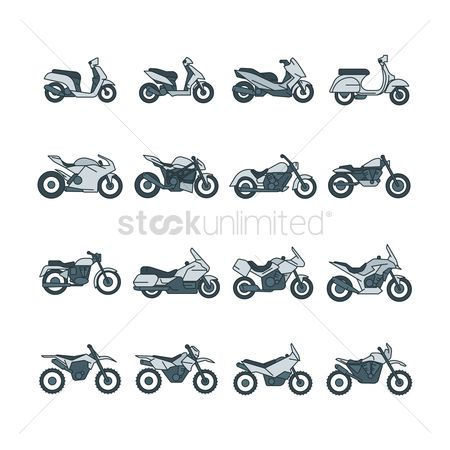 Touring : Set of motorcycle icons