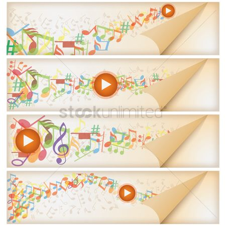 Musicals : Set of music banner