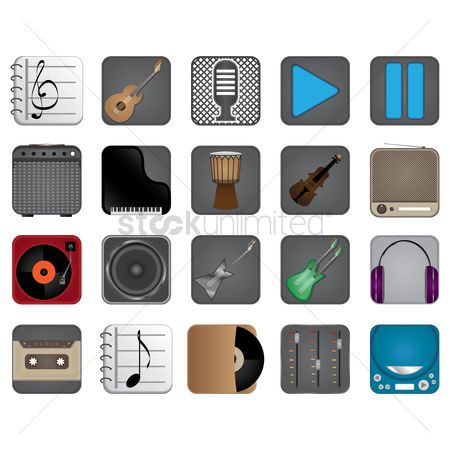 Drums : Set of musical icons