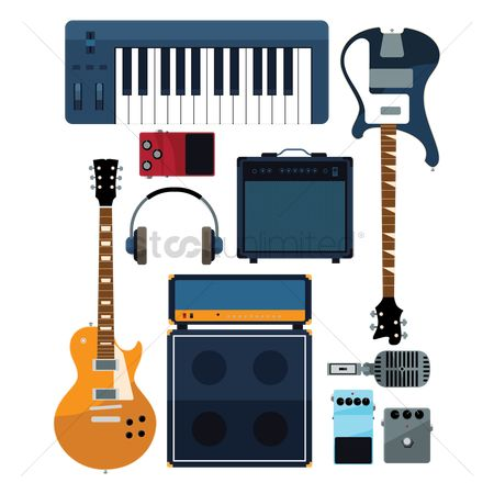 sound system clipart. 1920742 sound system : set of musical instruments clipart