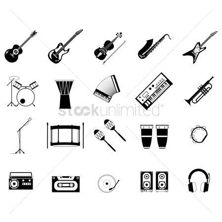 Wooden sign : Set of musical instruments