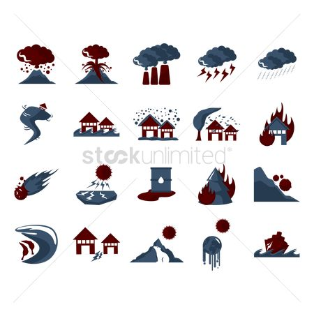 Pollutions : Set of natural disaster icons