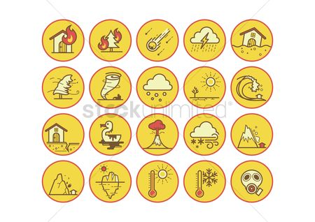 Temperatures : Set of natural disaster icons