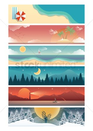Lighthouses : Set of nature banners