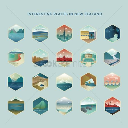 Islands : Set of new zealand destinations icons