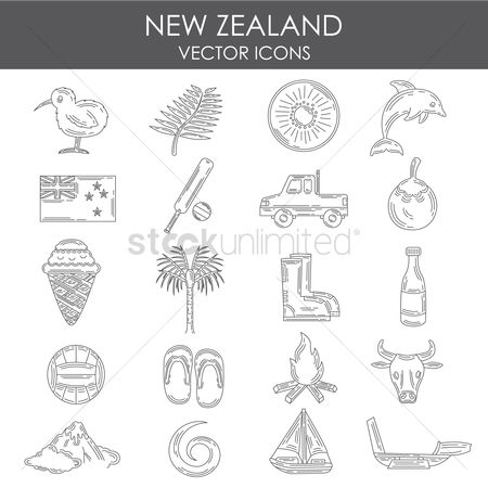Slippers : Set of new zealand icons