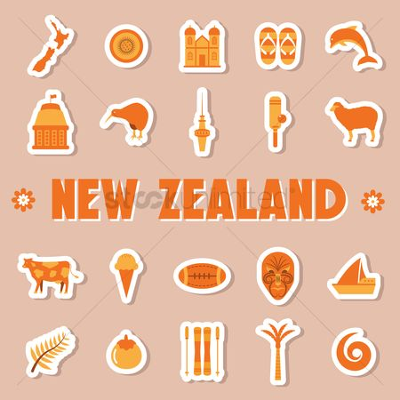 Dolphins : Set of new zealand icons
